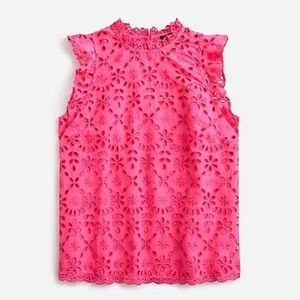 J.CREW Mock Neck Angel Wing in Embroidered Eyelet